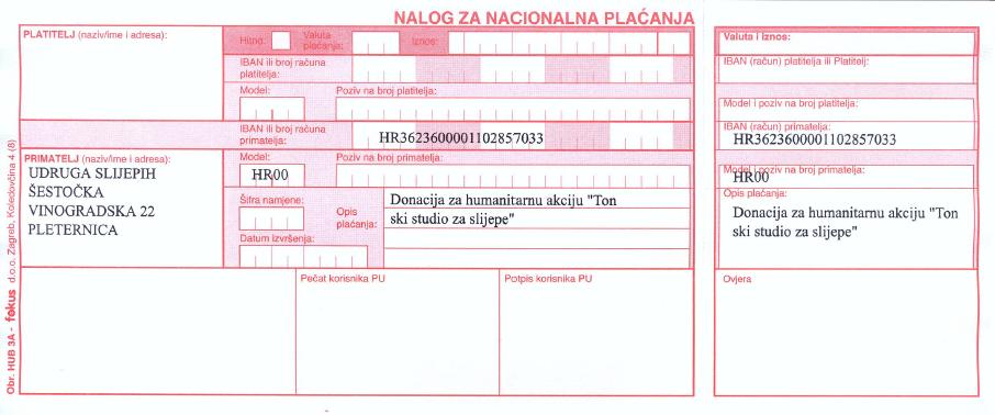 Uplatnica - Donacija za tonski
